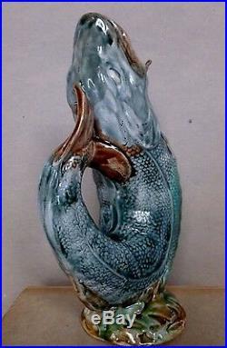 Antique Leaping Fish Pitcher Vase Jug Majolica Figural Art Pottery Ceramic C1890
