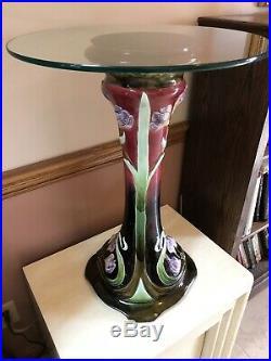 Antique Majolica Lily Art Nouveau Ceramic Pedestal 27 Plant Stand Lamp Table