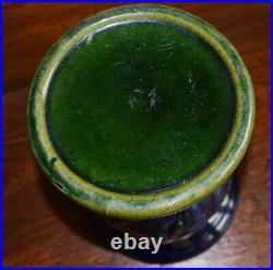 Antique Majolica Small Table Jardiniere Pedestal Set Brush McCoy Cobalt Blue