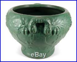 Antique Matte Green Ohio Art Pottery Jardiniere Vase Handles Oak Leaves Acorn