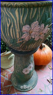 Antique Mission Arts & Crafts Era Ceramic Art Pottery Jardiniere Plant Stand Pot