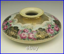 Antique Nippon Moriage Heavy Gold Roses Black Large Squat Vase 8 Maple Leaf