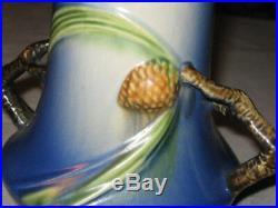 Antique Roseville Blue Pinecone # 842-8 Art Pottery Flower Garden Tree Vase Pine
