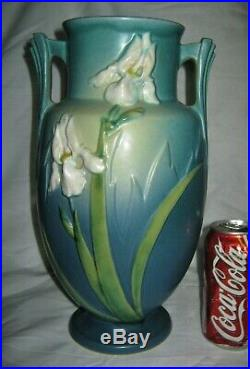 Antique Roseville USA 928-12 Art Deco Pottery Flower Garden Blue Iris Vase Mint