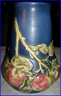 Antique Weller Blue Baldwin Art Pottery Large Apple Tree Vase Baldin Fruit