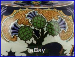 Antique, art nouveau ceramic Dutch plateel vase Rozenburg Holland, thistle decor