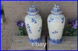 Antique delft blue white pottery ceramic dutch mill scene foo dog lid vases mark