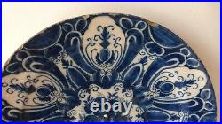 Antique large Dutch Delft charger dish plate 18thC. Ceramic. HH