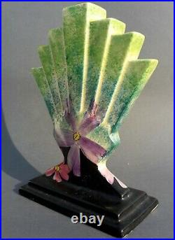 Art Deco Ceramic Fanned Vase Myott Son & Co England Hand Painted