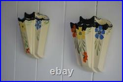 Art Deco Floral Wall Pockets Vases by Arthur Wood, Wall Vases, Wall Pocket, Deco