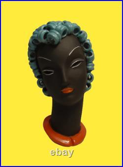 Art Deco German Knörlein Rudolf Or Karl Grossl Ceramic Bust 12 No Goldscheider