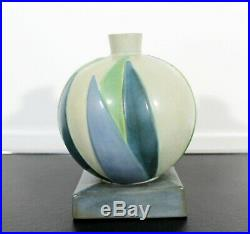 Art Deco Roseville Futura Lotus Leaf Ball Ceramic Art Vase Vessel Green Blue 30s