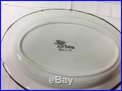 Arte Italica Tuscan Large Oval Serving Bowl #p5146 Pewter/white Ceramic Italy
