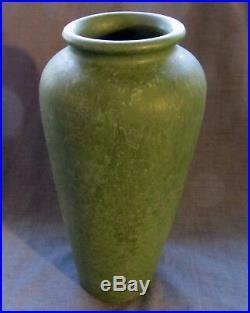 Arts & Crafts Mission Mottled Matt Green Glaze Vase 10