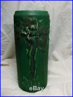 Arts & Crafts Modeled Mat Rookwood Matte Green Vase withPoppies Toohey 1907