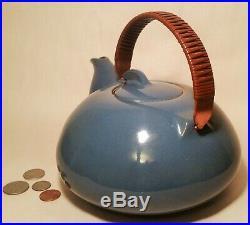 BLUE COPPER mcm edith heath ceramic art pottery teapot vtg tea modern sculpture