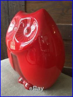 Baldelli Italian Ceramic Owl Red Coin Bank Italy Mid Century Modern Art Piggy
