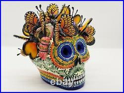 Beautiful Alfonso Castillo day of the dead skull butterflies ceramic folk art