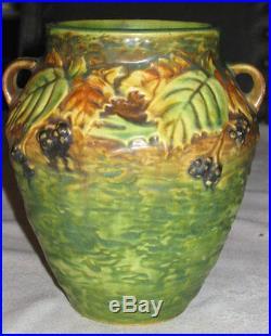 Best! Antique Roseville Blackberry Art Pottery Flower Garden Berry Deco Vase
