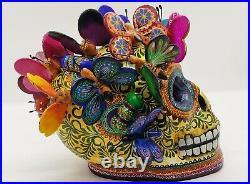 Big Alfonso Castillo day of the dead skull colored butterflies ceramic folk art