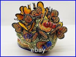 Big Alfonso Castillo day of the dead skull monarch butterflies ceramic folk art