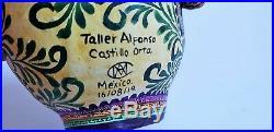 Big amazing Alfonso Castillo day of the dead skull butterflies ceramic folk art