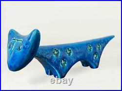 Bitossi Pottery Rimini Blu Aldo Londi Italian Blue Glazed Ceramic Cat