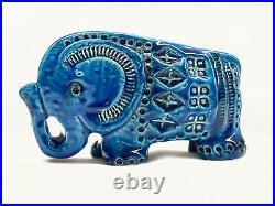 Bitossi Pottery Rimini Blu Aldo Londi Italian Blue Glazed Ceramic Elephant