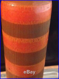 Bitossi Seta Gambero Italian Incise Art Pottery Vase 14 Lobster MCM Vintage