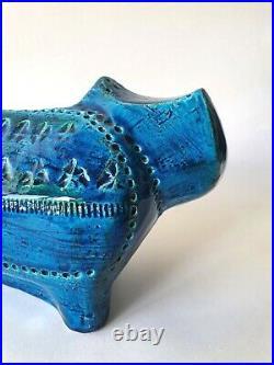 Bitossi ceramic cat Rimini Blue Italy Aldo Londi vintage MCM figurine Italy Blu