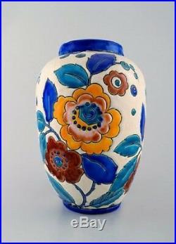 Boch Freres Ceramic, Belgium large art deco ceramic vase. 1930 / 40s