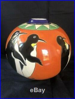 Boch Freres Pottery Keramis Art Deco Catteau penguin Vase