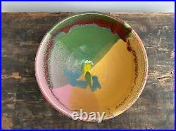 Bold Peter Shire Drip Glaze Pottery Bowl / Memphis Milano Echo Park Ceramic Art