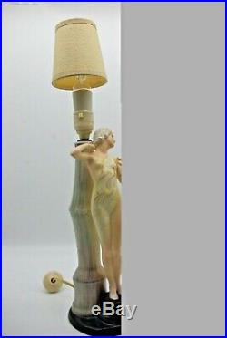 British Art Pottery Risque Figural Lady Working Ceramic Electric Lamp With Shade