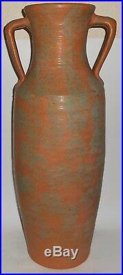 Burley Winter Art Pottery 25.5'' Green Over Orange 2-Handle Vase