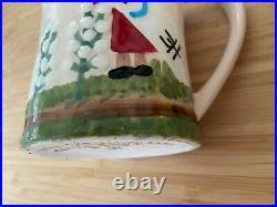 CLEMENTINE HUNTER Art Rare Ceramic PICKING COTTON Set Pair of Two Coffee Mugs