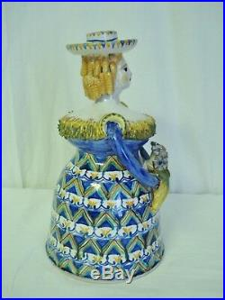 C Carriero Grottaglie Italy 9 Woman Ceramic Figural Candle Holder Art Pottery