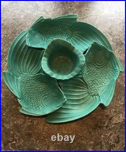 California Art Pottery 4 pc KOI Fish Serving Tray Bowl 1950's Mid-Century Modern