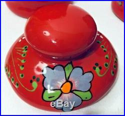 Ceramic Canister Set Mexican Talavera Pottery Red Large Folk Art Kitchen