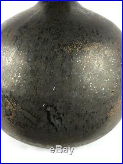 Ceramic Long Neck Vase Matte Black & Bronze Metallic Glaze Studio Art Pottery
