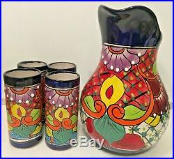 Ceramic Pitcher 4 Glasses Mexican Talavera Pottery Set Folk Art Water Jug