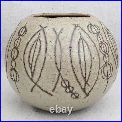 Clyde Burt Mid Century Modern Studio Pottery Abstract Sgraffito Pot Planter