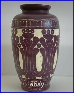 Curras Brothers Signed 1984 Ceramic Art Pottery Deco Vase 12 Tall