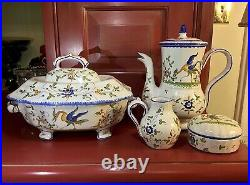 DR Royal Moustiers Faience France Fait Main Set (4Pc) Handpainted in France