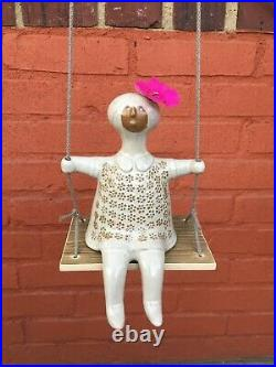 David Stewart Lion's Valley Stoneware Art Studio Pottery Girl on Swing Figurine