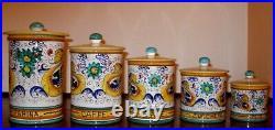 Deruta Italian Pottery- 5 Pcs Raffaellesco Pattern Canisters Set