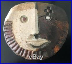 Doug Delind Studio Pottery Ceramic Raku Wall Art Hanging Mask