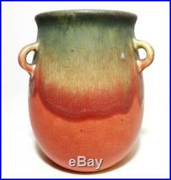 Early Weller Arts & Crafts Vint Drip Glazed, Tri-handled Fruit-tone Ceramic Vase