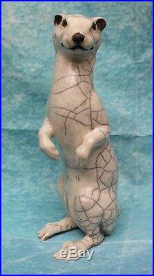 English Raku Art Pottery Standing Ermine Signed Potter Sculptor Brian Andrew