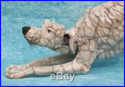 English Raku Art Pottery Stretching Lurcher Signed Potter Sculptor Brian Andrew